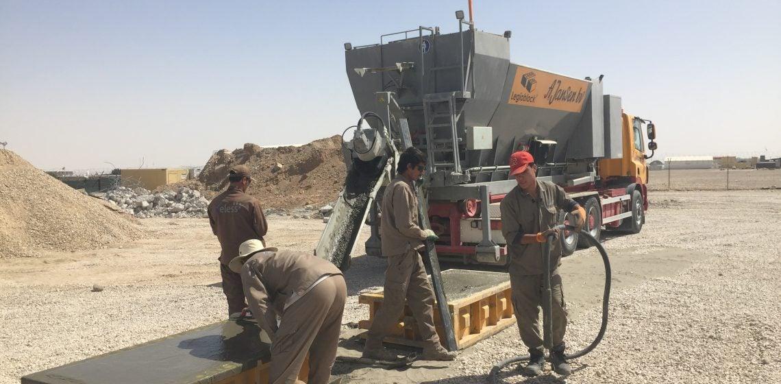Mobiele betonfabriek in Afghanistan